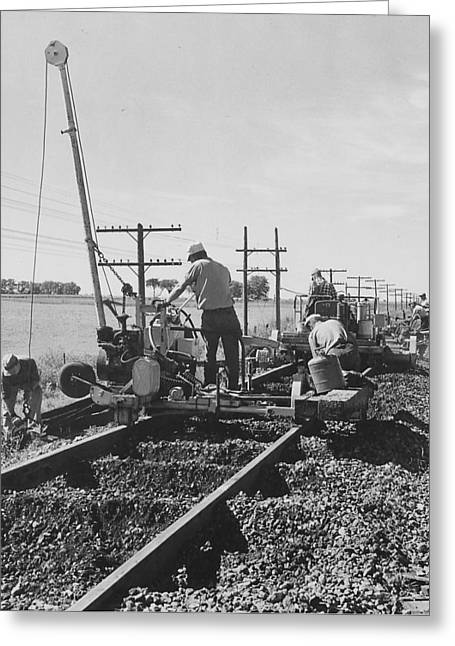 """""""work Crew"""" Greeting Cards - Working on the Rails- 1957 Greeting Card by Chicago and North Western Historical Society"""