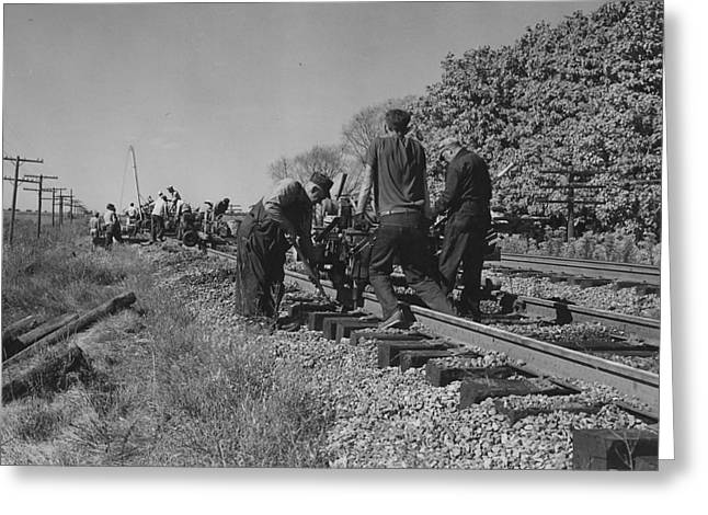 """""""work Crew"""" Greeting Cards - Working on Rail Line - 1957 Greeting Card by Chicago and North Western Historical Society"""