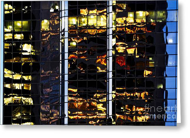 Distribution Office Greeting Cards - Building reflecting onto windows CCXXVI  Greeting Card by Nasser Studios