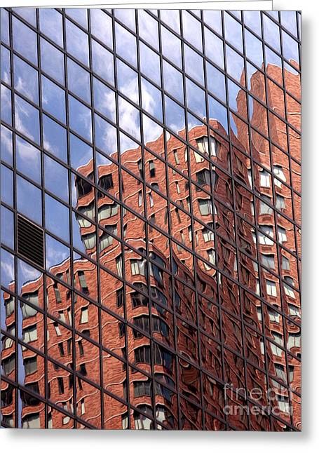 Visual Art Greeting Cards - Building reflection Greeting Card by Tony Cordoza