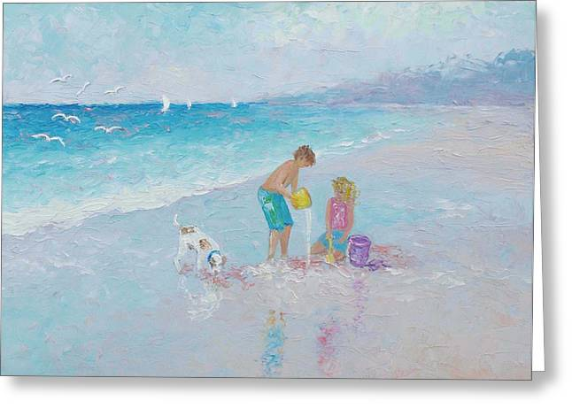 People On Beach Greeting Cards - Building Sandcastles Greeting Card by Jan Matson