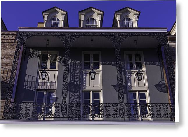Nola Photographs Greeting Cards - Building Shadows french Quarter Greeting Card by Garry Gay