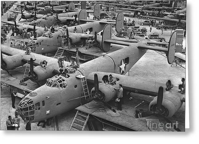 Building The B24 Fleet 1943 Bw Greeting Card by Padre Art