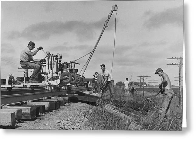 """""""work Crew"""" Greeting Cards - Building Train Tracks - 1957 Greeting Card by Chicago and North Western Historical Society"""