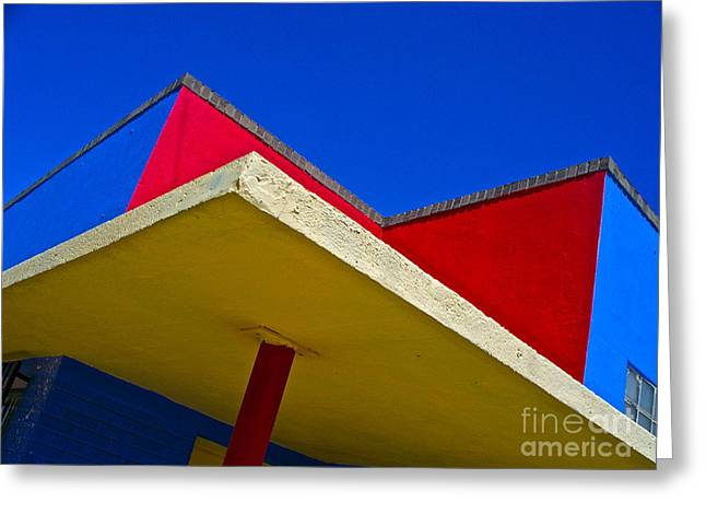 Chicano Greeting Cards - Building Turns Itself Into Mondrian Greeting Card by Chuck Taylor