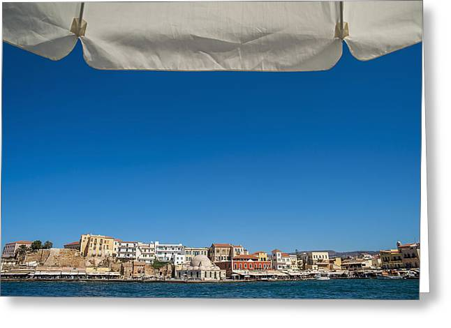 Buildings In The Harbor Greeting Cards - Buildings Along The Harbour  Chania Greeting Card by Dosfotos