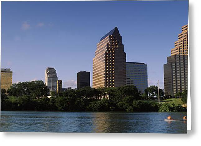 Canoe Photographs Greeting Cards - Buildings At The Waterfront, Austin Greeting Card by Panoramic Images