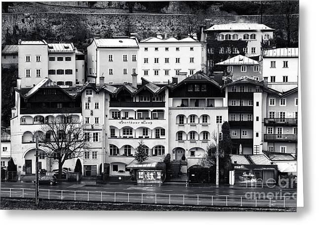 Salzburg Greeting Cards - Buildings in Salzburg mono Greeting Card by John Rizzuto