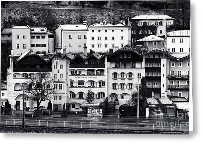 Art In Salzburg Greeting Cards - Buildings in Salzburg mono Greeting Card by John Rizzuto