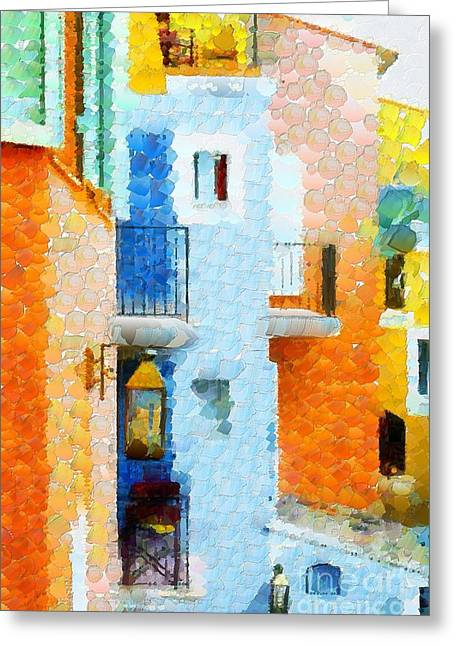 Print On Canvas Greeting Cards - Buildings Lines And Edges In Tiny Bubbles Greeting Card by Catherine Lott