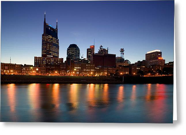 Tennessee River Greeting Cards - Buildings Lit Up At Dusk Greeting Card by Panoramic Images