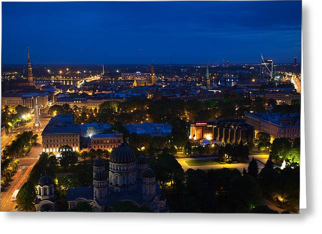 Evening Scenes Greeting Cards - Buildings Lit Up At Dusk, Vecriga, Old Greeting Card by Panoramic Images