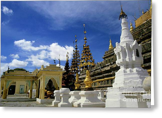 Medieval Temple Greeting Cards - Built structures inside Shwezigon Pagoda Greeting Card by Sami Sarkis