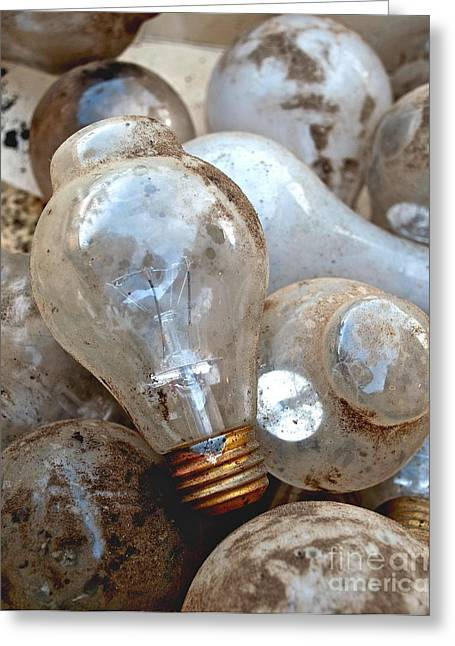 Old Light Bulb Greeting Cards - Bulb Picking Greeting Card by Gwyn Newcombe
