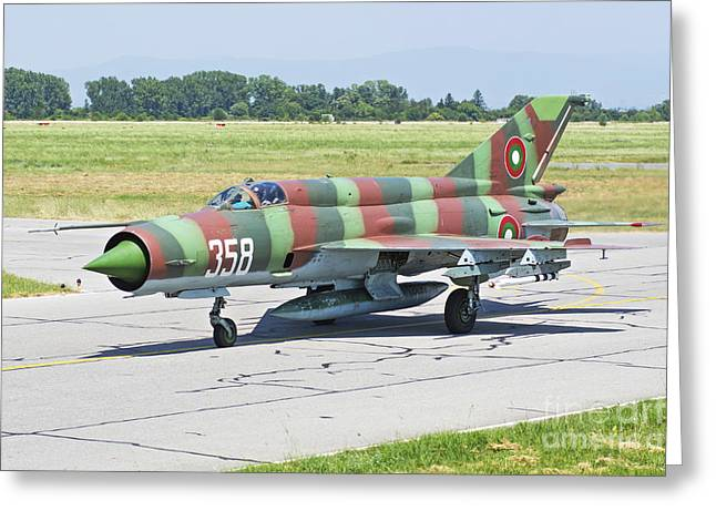 Jet Star Greeting Cards - Bulgarian Air Force Mig-21 Taxiing Greeting Card by Daniele Faccioli