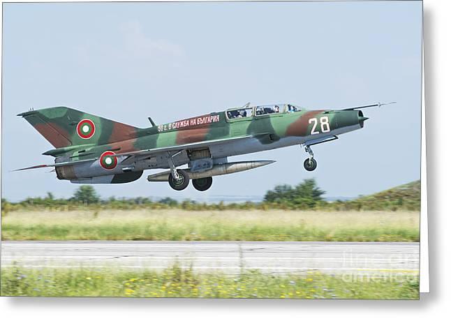 Jet Star Greeting Cards - Bulgarian Air Force Mig-21um Mongol Greeting Card by Daniele Faccioli