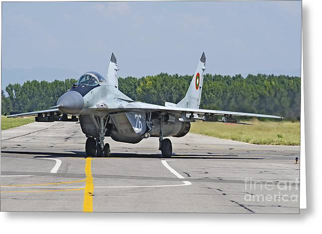 Fighter Star Fighter Greeting Cards - Bulgarian Air Force Mig-29 Fulcrum Greeting Card by Daniele Faccioli