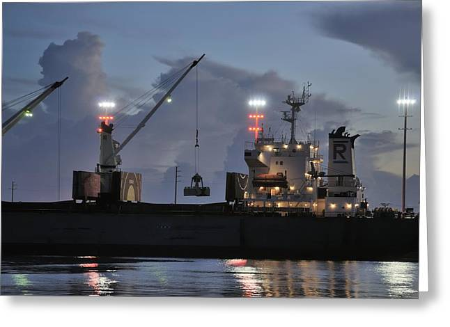 Grapple Greeting Cards - Bulk Cargo Carrier Loading at Dusk Greeting Card by Bradford Martin