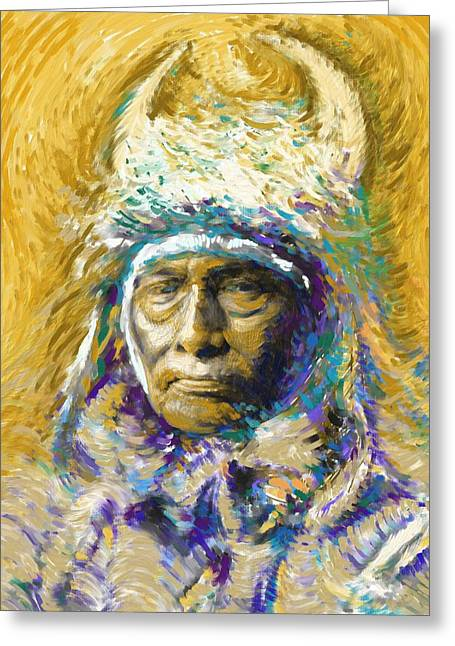 American Indians Greeting Cards - Bull Chief Greeting Card by Ben Thompson