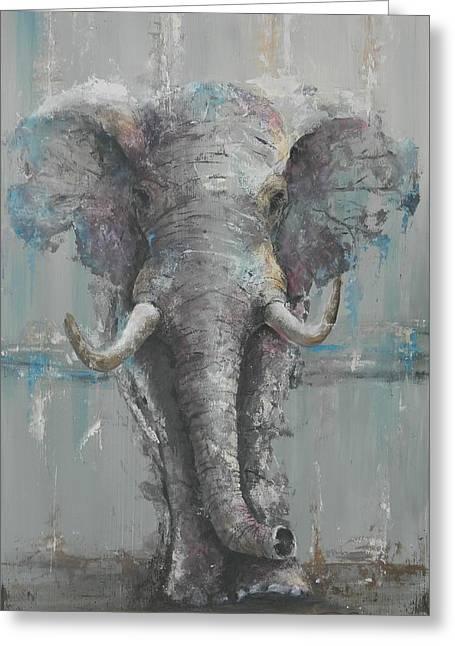 Bull Elephant Greeting Card by John Henne