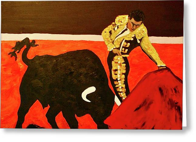 Toreador Paintings Greeting Cards - Bull Fight Greeting Card by Dorota Nowak
