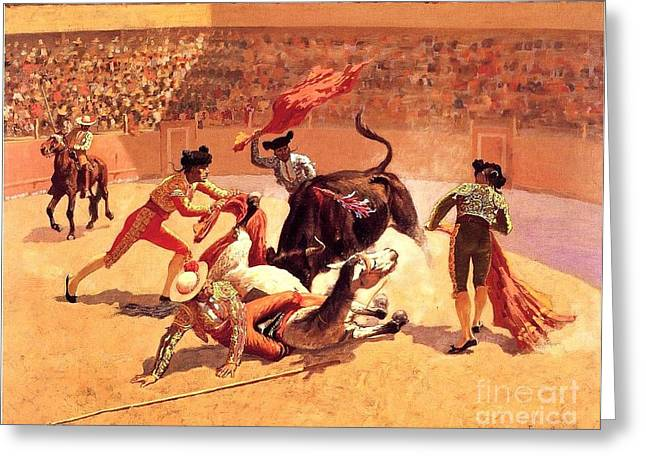 Bull Fight In Mexico Greeting Card by Roberto Prusso