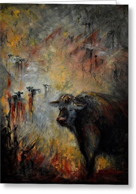 Caves Greeting Cards - Bull In The Pasture Greeting Card by Neva Cruddas