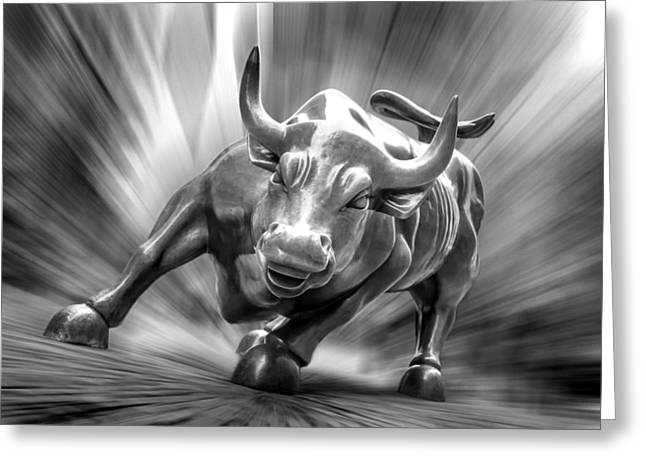 Wealth Digital Greeting Cards - Bull Market Greeting Card by Az Jackson