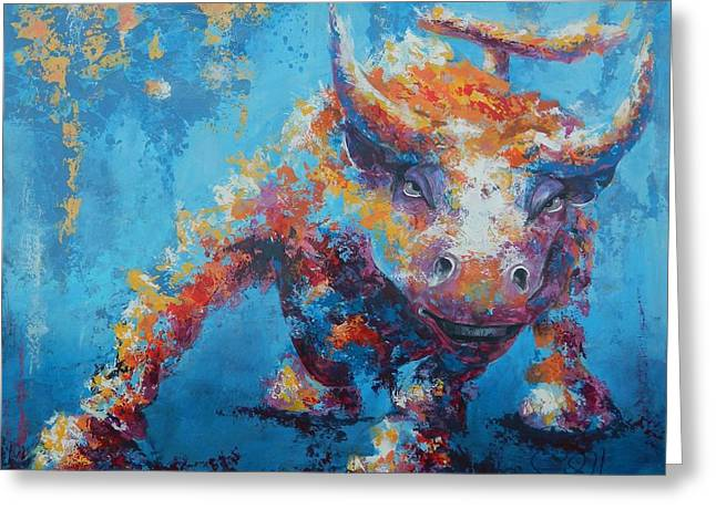 Frame Greeting Cards - Bull Market X Greeting Card by John Henne
