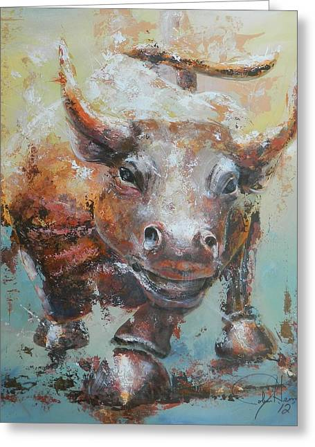 Bull Market Y Portrait Greeting Card by John Henne