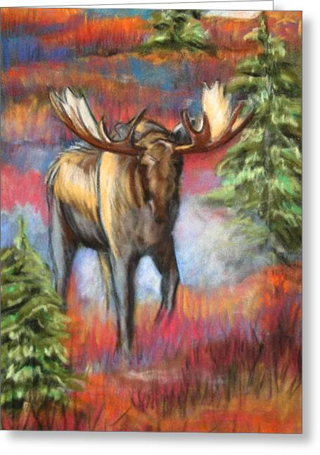 Fine Artwork Pastels Greeting Cards - Bull Moose In Fall Greeting Card by Tracey Hunnewell