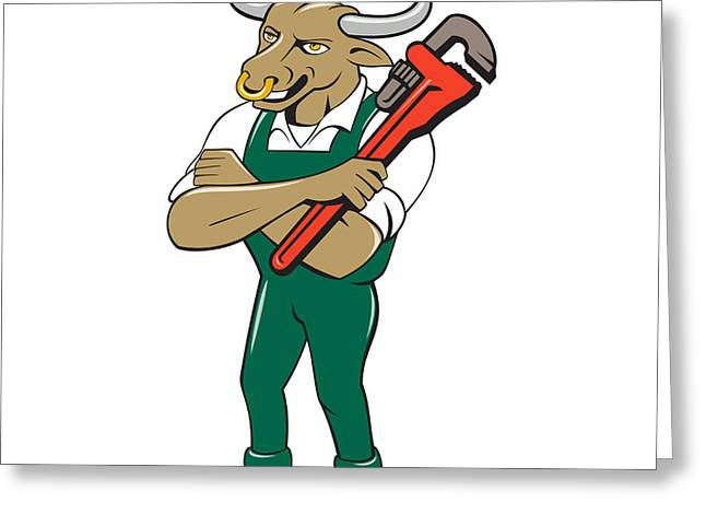 Overalls Greeting Cards - Bull Plumber Wrench Standing Isolated Cartoon Greeting Card by Aloysius Patrimonio