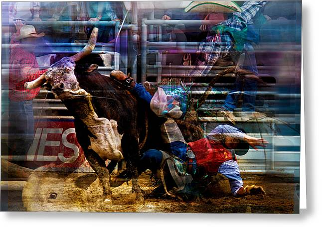 Bull Riding Greeting Cards - Bull Rider Greeting Card by Mark Courage