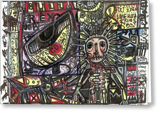 Dizzy Mixed Media Greeting Cards - Bull Rider Greeting Card by Robert Wolverton Jr