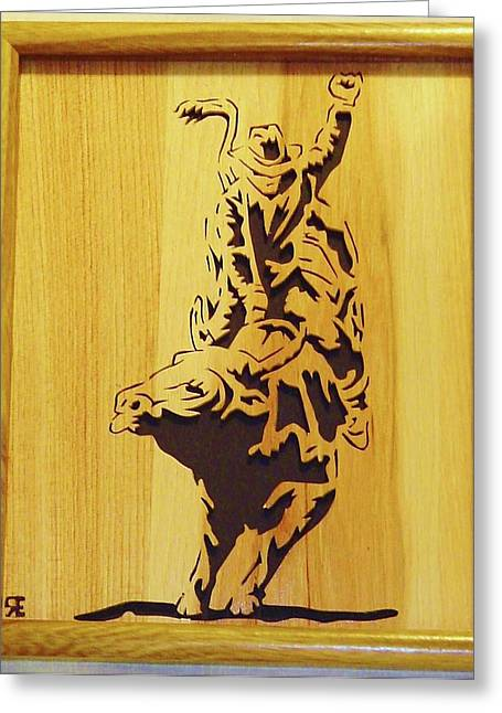 Saw Sculptures Greeting Cards - Bull-Rider Greeting Card by Russell Ellingsworth