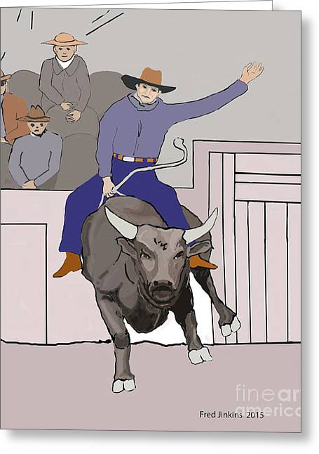 Angry Crowd Greeting Cards - Bull Riding at Rodeo Greeting Card by Fred Jinkins