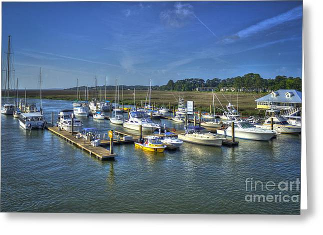 Bull Creek Greeting Cards - Bull River Marina Tybee Island Savannah GA Greeting Card by Reid Callaway