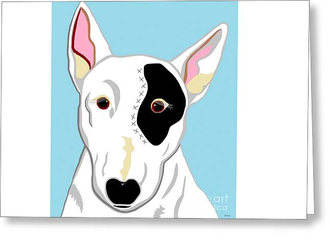 Dogs Digital Greeting Cards - Bull Terrier Greeting Card by Eloise Schneider