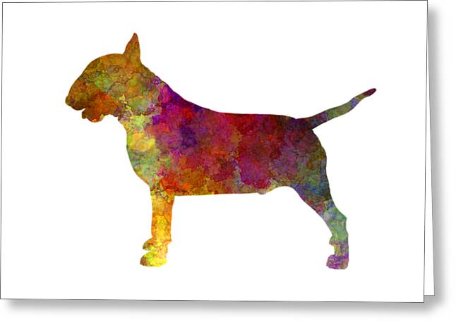 Bull Terrier In Watercolor Greeting Card by Pablo Romero