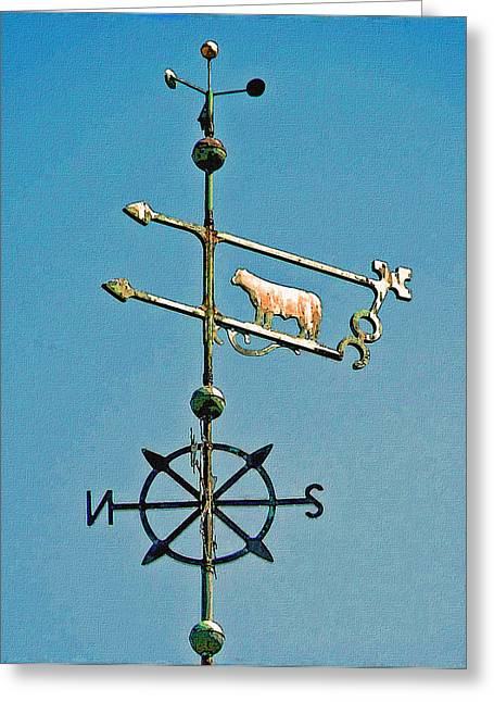 Weathervane Greeting Cards - Bull Weather Vane Greeting Card by Jean Hall
