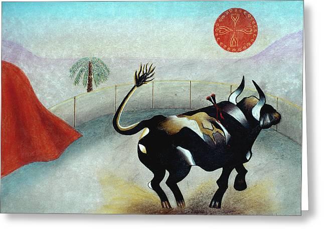 Bull with Sun Greeting Card by Sally Appleby