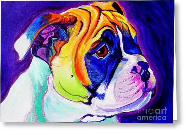 English Bulldog Portrait Greeting Cards - Bulldog - Pup Greeting Card by Alicia VanNoy Call