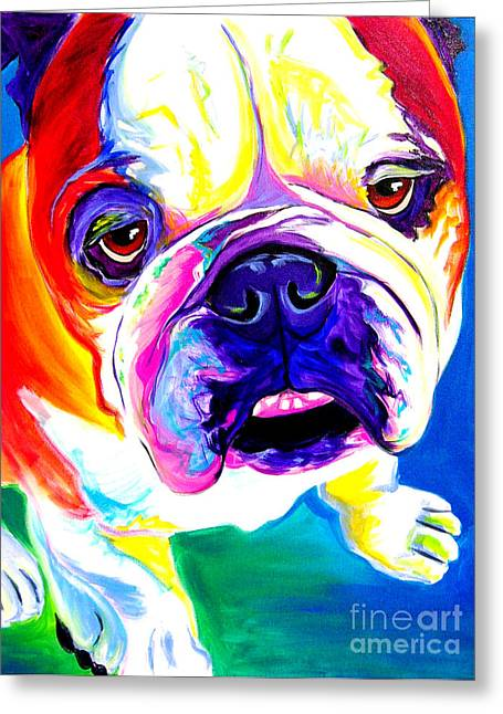 English Bulldog Portrait Greeting Cards - Bulldog - Stanley Greeting Card by Alicia VanNoy Call