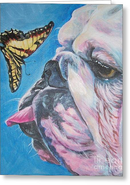 English Bulldog Portrait Greeting Cards - Bulldog and butterfly Greeting Card by Lee Ann Shepard