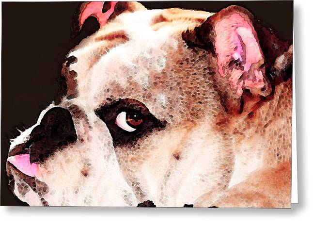 College Room Greeting Cards - Bulldog Art - Lets Play Greeting Card by Sharon Cummings