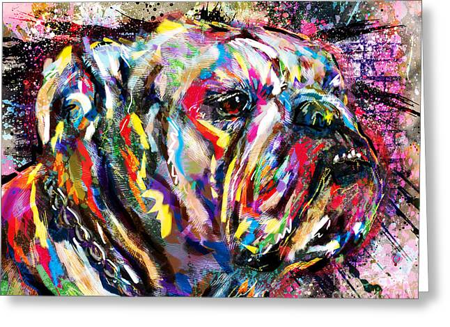 English Bulldog Portrait Greeting Cards - Bulldog Art Greeting Card by Ryan RockChromatic