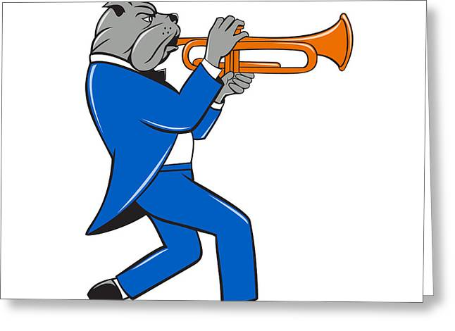 Marching Band Greeting Cards - Bulldog Blowing Trumpet Side View Cartoon Greeting Card by Aloysius Patrimonio
