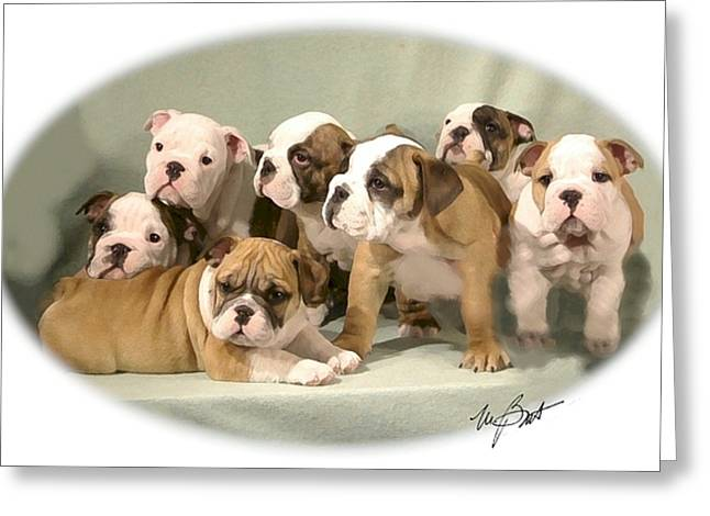 Bulldog Family Pups Greeting Card by Maxine Bochnia