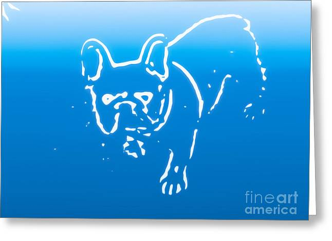 Cute Frenchie Art Greeting Cards - Bulldog in Blue Greeting Card by Heather Joyce Morrill