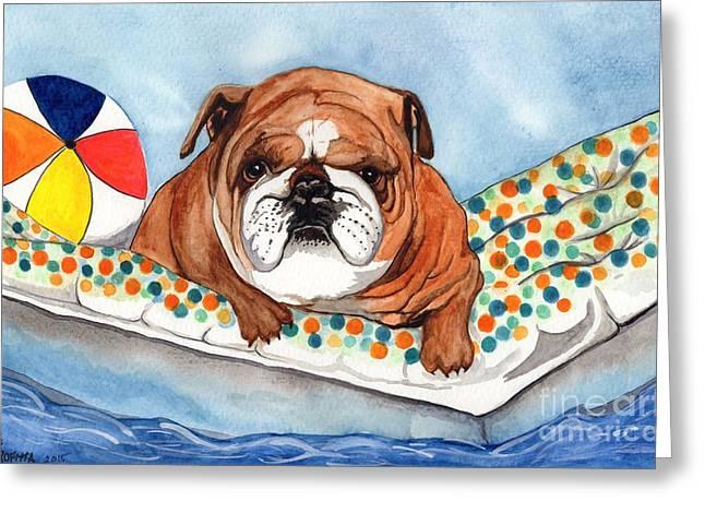 Puppies Drawings Greeting Cards - Bulldog Pool Time  Greeting Card by Jane Pietrofitta